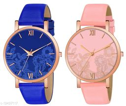 Green Scapper Multicolor Leather Strap Analog Watches For Girls & Women-0369