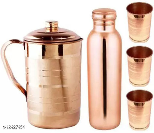 Oxyjal Pure Copper 1.5 L Jug, 950 ML Bottle, 300 ML Glass Combo Set For Home, Kitchen, Office, Garden