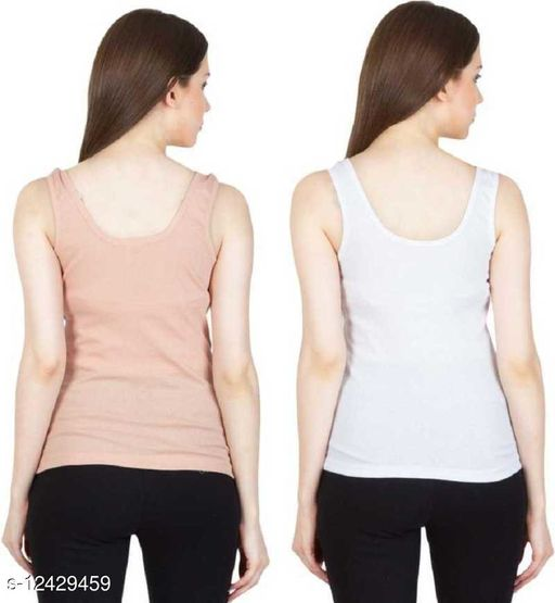 Women Pack of 2 Beige Cotton Camisoles