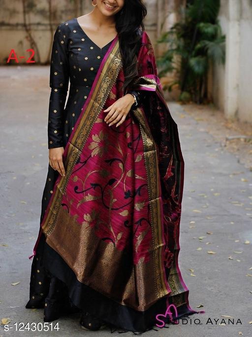 Designer Wear Black Tafeta Silk Readymade Gown
