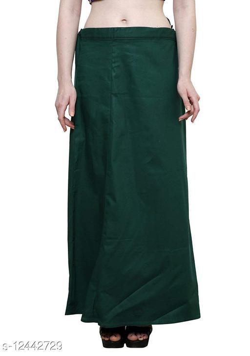 Pure Cotton Saree Petticoat Bottle Green Color Free Size