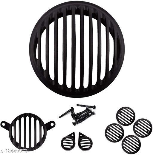 Ramanta Complete Plastic Grill Set Bike Headlight Grill (Black)