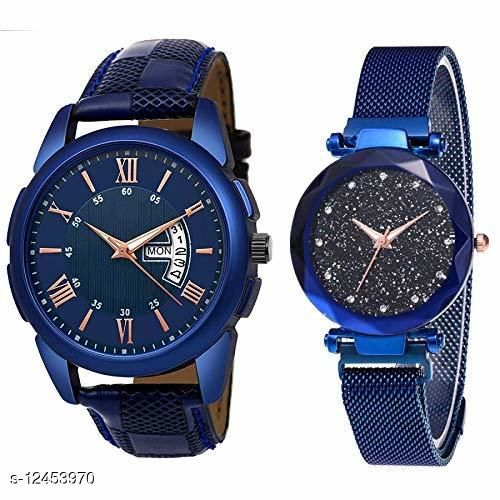 Blue Date Day And Blue Magnet Couple Watch(Pack of 2)