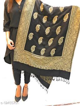 Women Paisely Buti jaal, Designer Wool blend stole