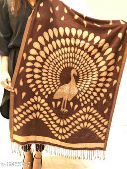 Women Peacock Design Woven Stole