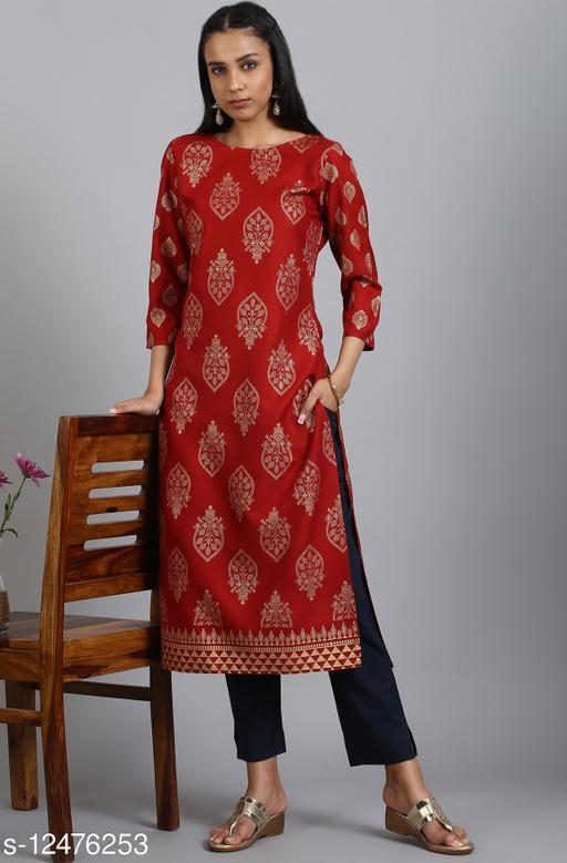 Women Rayon A-line Printed Sequinned Kurti