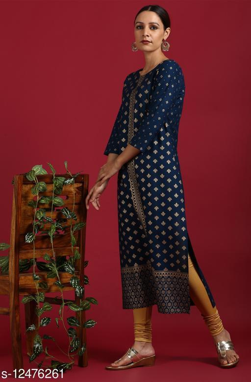 Janasya Janasya Women's Dark Blue Rayon Kurta