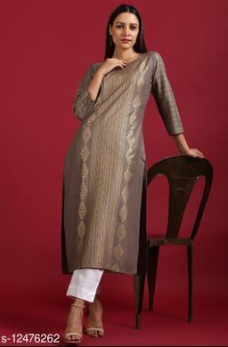 Janasya Women's Grey Rayon Kurta