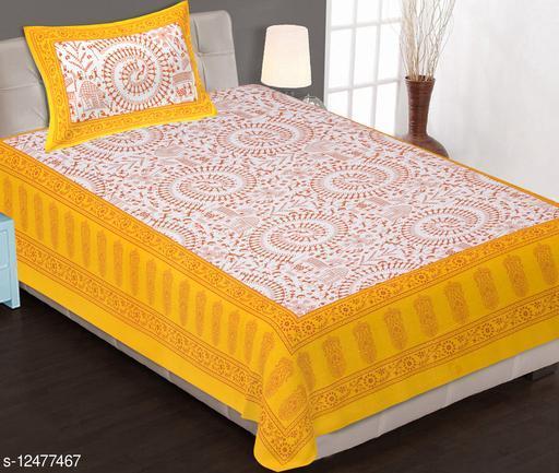 Monik Handicrafts®Comfort Rajasthani Jaipuri Traditional Sanganeri Print 140 TC 100% Cotton Single Bedsheet with 1 Pillow Cover