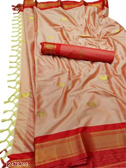 MH Traditional Paithani Silk Sarees With Contrast Blouse Piece (Copper & Red)