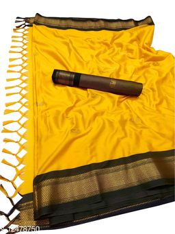 MH Traditional Paithani Silk Sarees With Contrast Blouse Piece (Mango & Black)