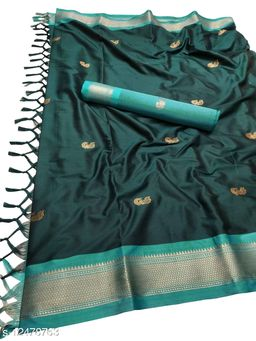 MH Traditional Paithani Silk Sarees With Contrast Blouse Piece (Ramagreen & Sky Blue)