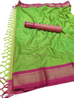 MH Traditional Paithani Silk Sarees With Contrast Blouse Piece (Parrot & Pink)