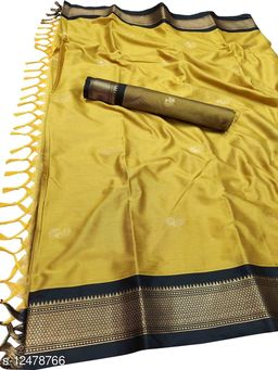 MH Traditional Paithani Silk Sarees With Contrast Blouse Piece (Mustard & Black)