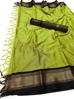 MH Traditional Paithani Silk Sarees With Contrast Blouse Piece (Lemon & Black)