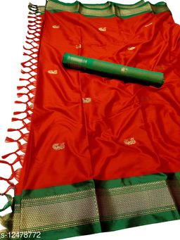 MH Traditional Paithani Silk Sarees With Contrast Blouse Piece (Red & Green)