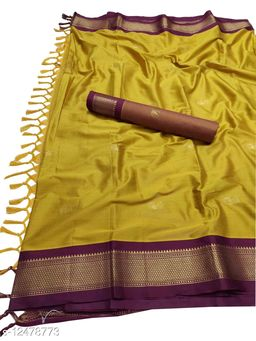 MH Traditional Paithani Silk Sarees With Contrast Blouse Piece (Mustard & Wine)