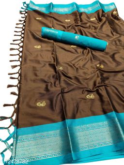 MH Traditional Paithani Silk Sarees With Contrast Blouse Piece (Coffee  & Sky Blue)