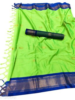 MH Traditional Paithani Silk Sarees With Contrast Blouse Piece (Neon Green & Blue)