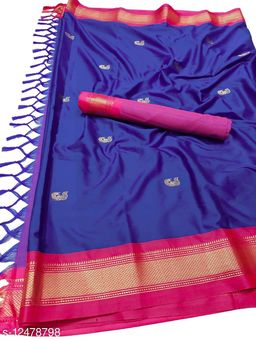 MH Traditional Paithani Silk Sarees With Contrast Blouse Piece (Royal Blue & Pink)