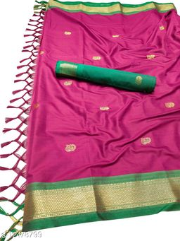 MH Traditional Paithani Silk Sarees With Contrast Blouse Piece (Bringal & Green)