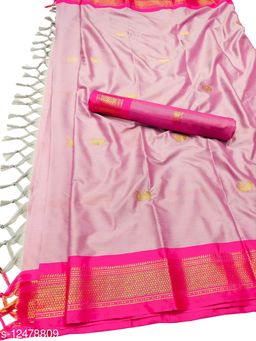 MH Traditional Paithani Silk Sarees With Contrast Blouse Piece (Baby Pink & Pink)