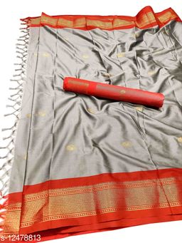 MH Traditional Paithani Silk Sarees With Contrast Blouse Piece (Grey & Red)