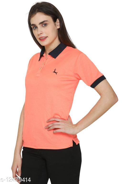 Maggivox Clothing Cotton Matty Polo T-Shirt For Women/Girls- Orange