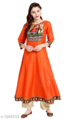 Women Poly Silk Flared Printed Orange Kurti