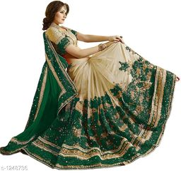 Stylish  Satin Embroidery Saree