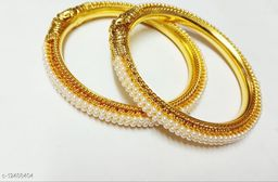 Elegant 2pcs Gold Plated Kada Set for Women and Girls