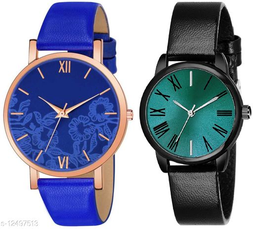 Green Scapper Multicolor Leather Strap Analog Watches For Girls & Women-1545
