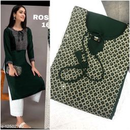 Women Rayon A-line Embroidered Long Kurti With Palazzos