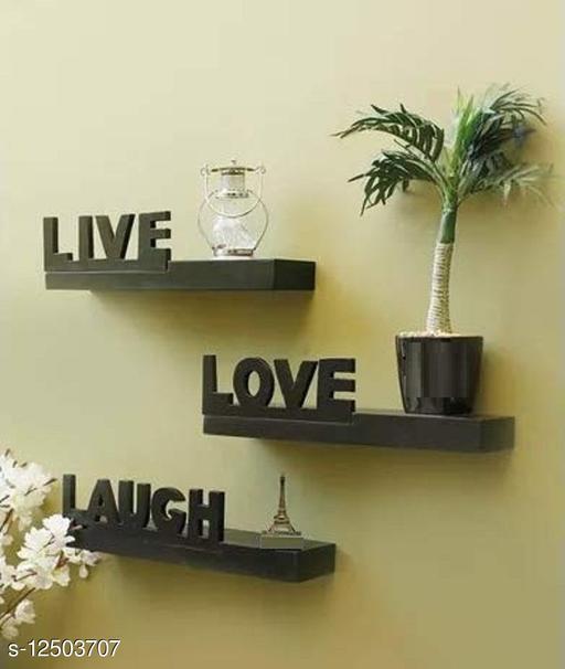 Namra Arts Beautiful Wall Shelf Set of 3 Lovely Words, Live-Love-Lough