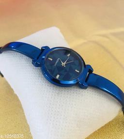 Blue Full Black Dial Bracelet Women Analog Watch - For Girls
