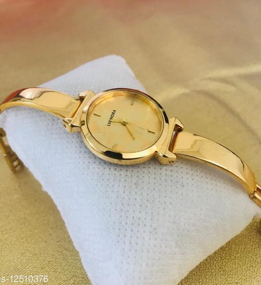Gold Full Black Dial Bracelet Women Analog Watch - For Girls