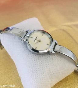 Silver Full Black Dial Bracelet Women Analog Watch - For Girls