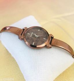 Brown Full Black Dial Bracelet Women Analog Watch - For Girls