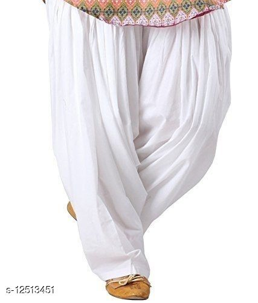 Women's Traditional  White Cotton Semi Patiala Salwar