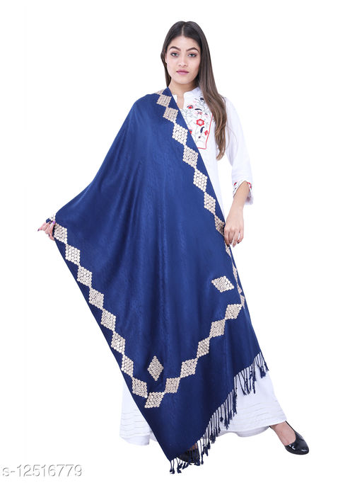 Sambhav Women's Pure Wool Fancy Printed Gota Pati Shawl For Winter Use (Pack Of 1)(Navy Blue)