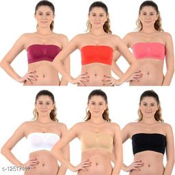 Pack of 6 Non Padded Bandeau Bra