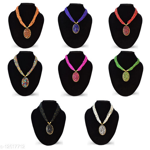 Hand Crafted 8 Pcs Set Combo Beads Brass Necklace