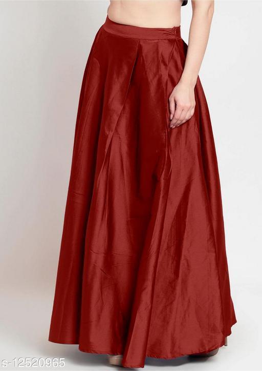 Maroon Taffeta Silk Free Size Women's Skrit