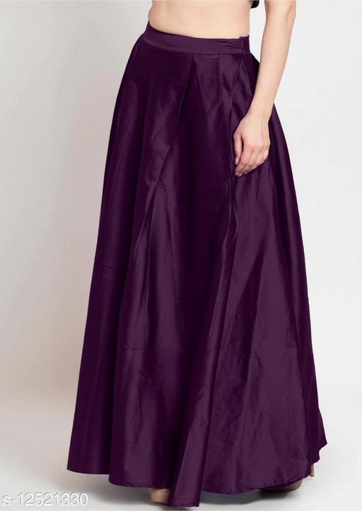 Purple Taffeta Silk Free Size Women's Skrit