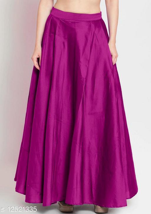 Pink Taffeta Silk Free Size Women's Skrit