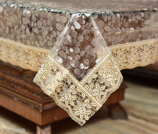 """4 Seater Center Table Cover Diamond Coin Deisgned Center Table Cover With Gold Lace Size 40""""x60"""" Inches - Waterpoof & Dustproof High Qualtiy Made In India Table Cover"""