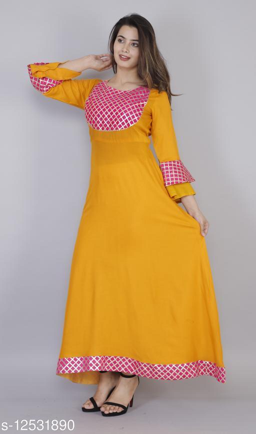 Rayon Designer Gota Work Dress