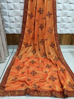 Heavy Embroidery Work saree with blouse piece