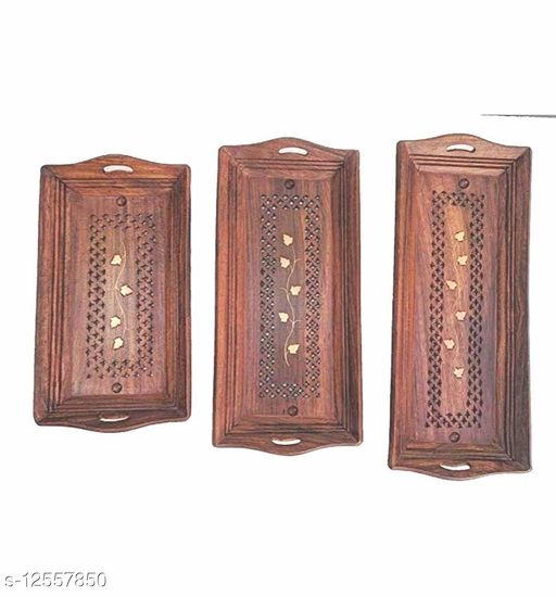 Wooden Serving Tray set of 3
