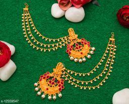 Charming Gold Plated American Diamond And Pearl Studded Women's Baahubali Hair Chain Temple Earrings